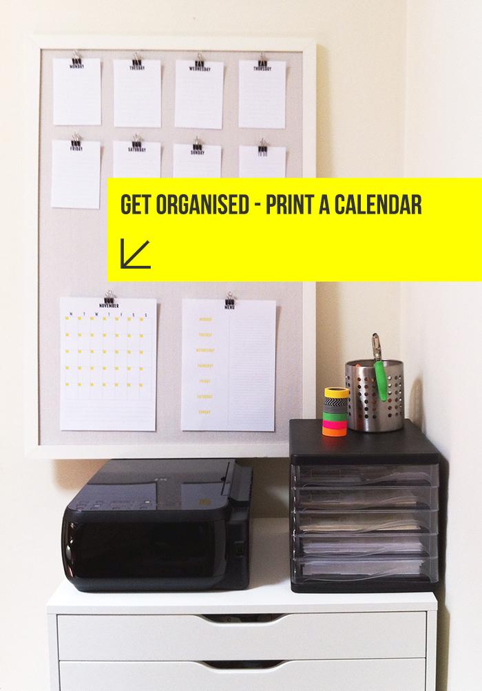 Get organised | Print a free calendar