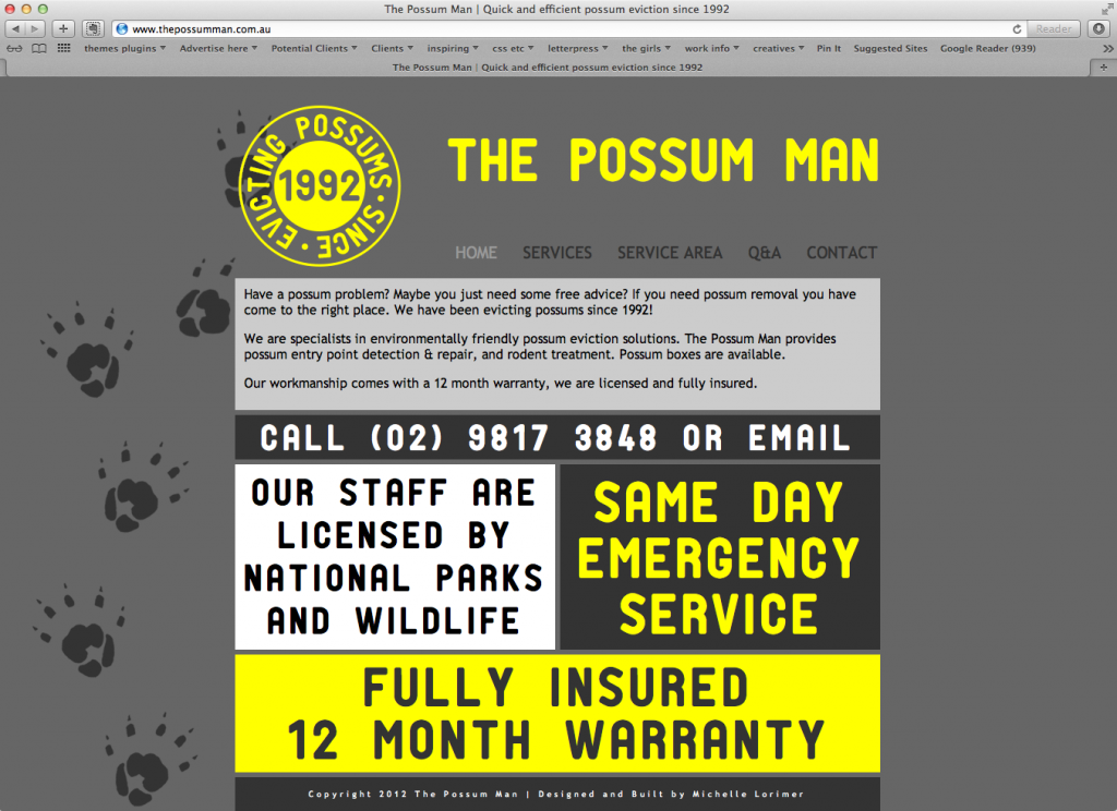 The Possum Man website redesign